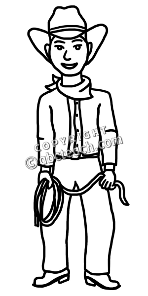 Cowboy Clipart Black And White.