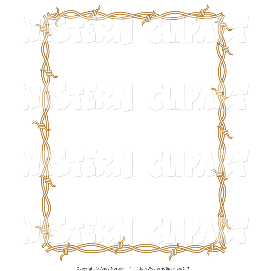 Vector Western Clip Art of a Brown Rectangle Border Frame of Barbed.