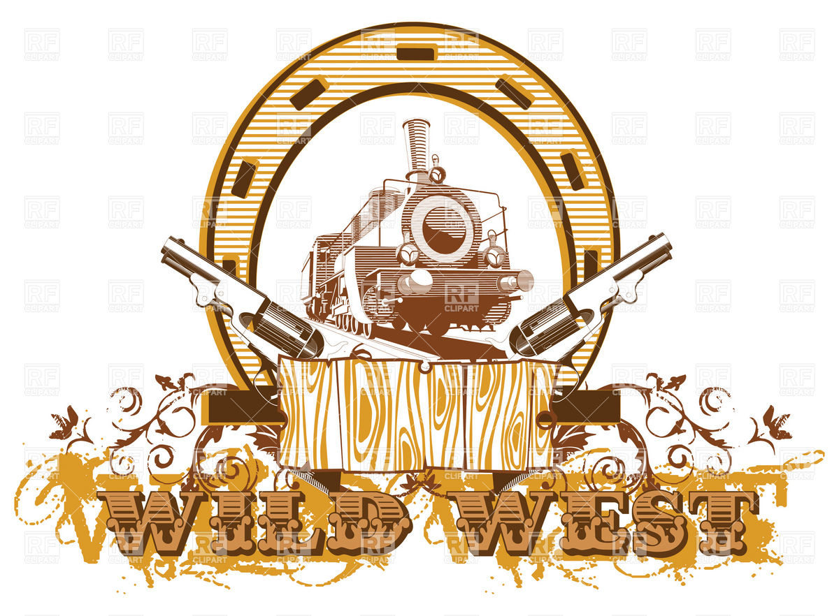 Wild west theme with locomotive and guns Stock Vector Image.