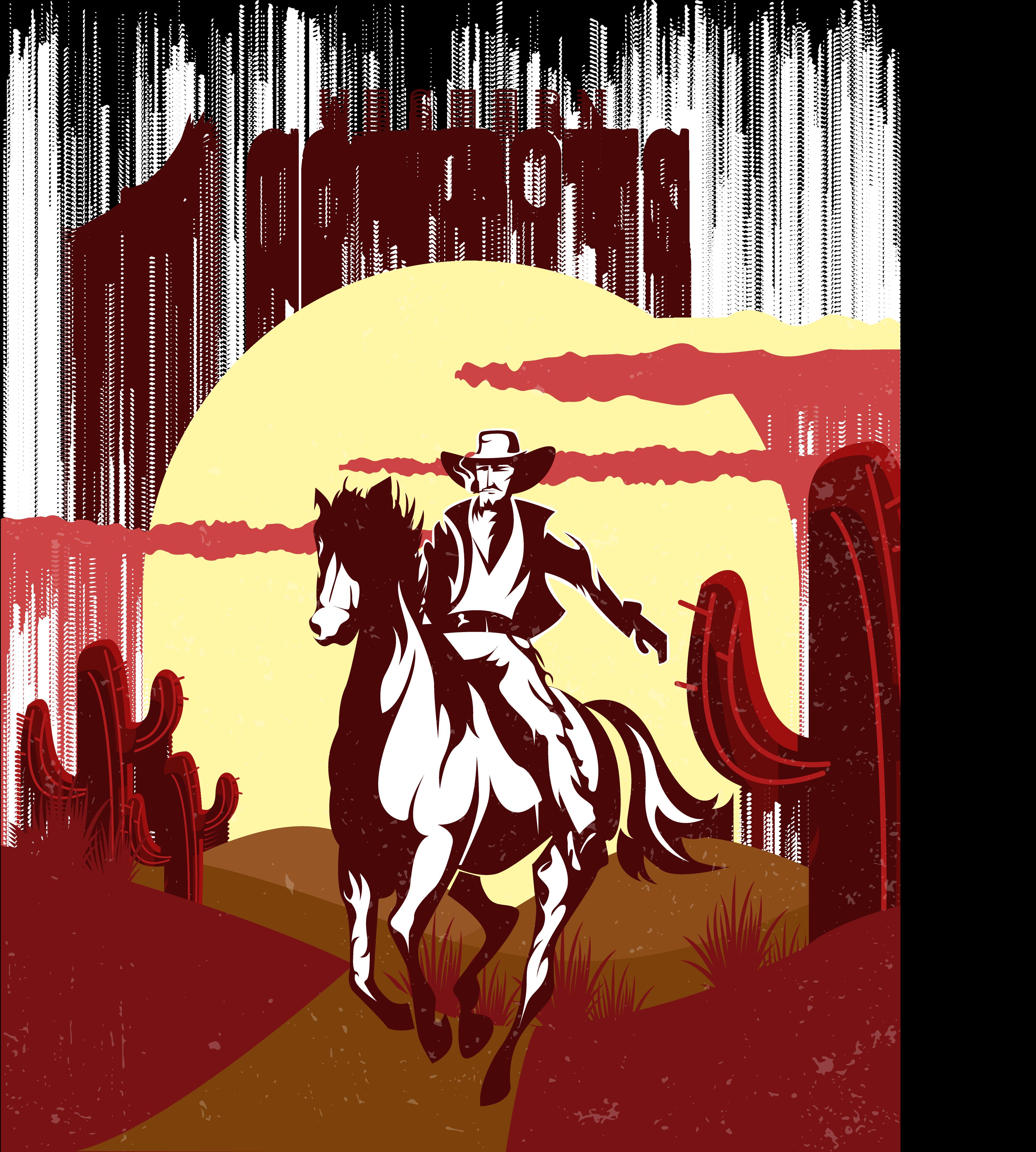 Cowboy Western American frontier Illustration.
