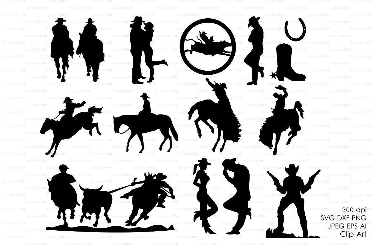 Cowboy Western Silhouettes Clip art.