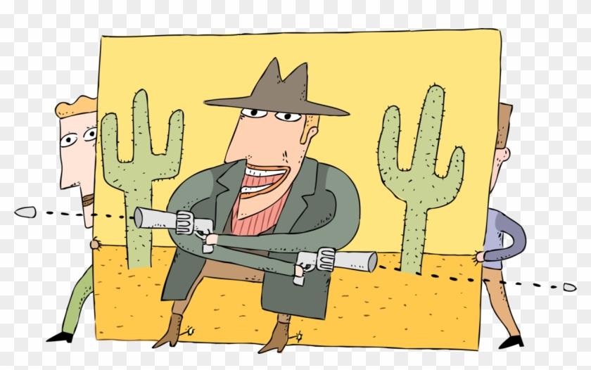 Vector Illustration Of Western Movie Film Bad Guy Shoots.