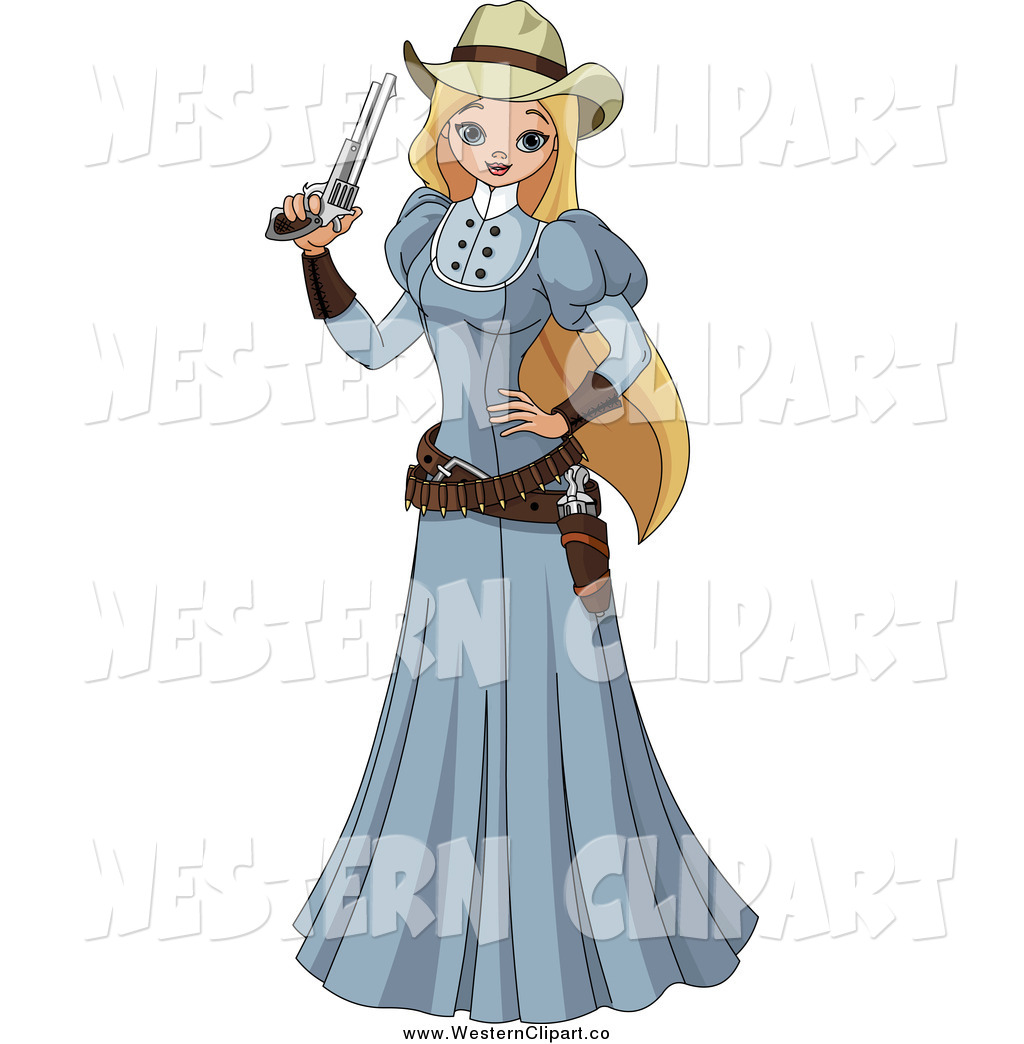 Vector Clip Art of a Blond White Wild Western Woman in a.