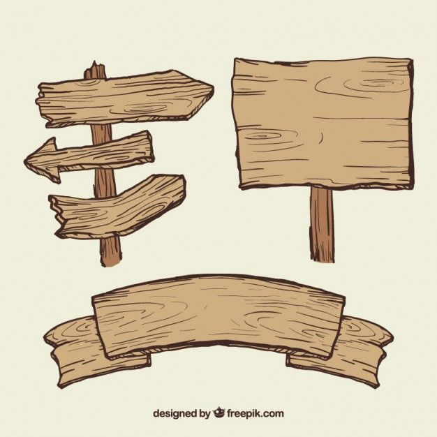 Wooden signs illustration Free Vector.