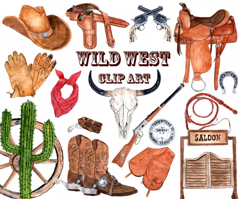 Watercolor Western Clipart: