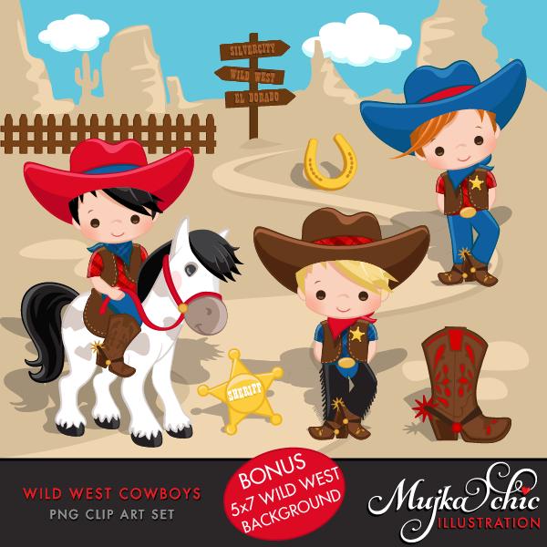 Wild West Cute Cowboy Clipart.