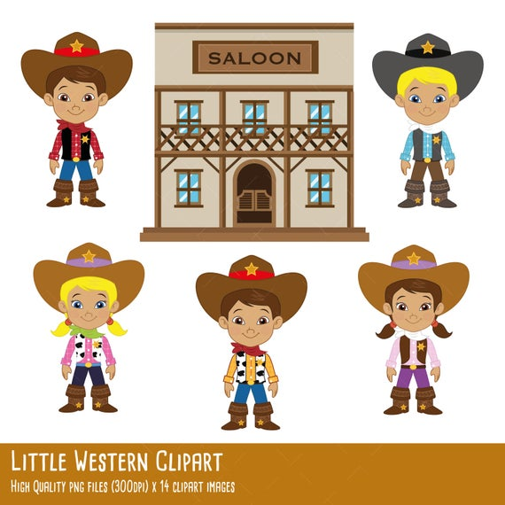 little Western clipart, cowboy clipart, cowgirl clipart, saloon clipart,  sherif clipart, woody, x 14 clipart images 300 dpi transparent png.