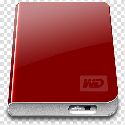WD My Passport Essentials Icon, WD My Passport Red, red.