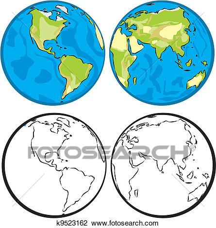 Eastern & western hemisphere Clipart.
