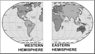 Clip Art: World Map: Eastern and Western Hemispheres Grayscale I.