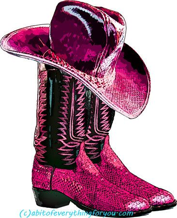 Pink cowgirl snake skin boots and hat shoe clipart png.