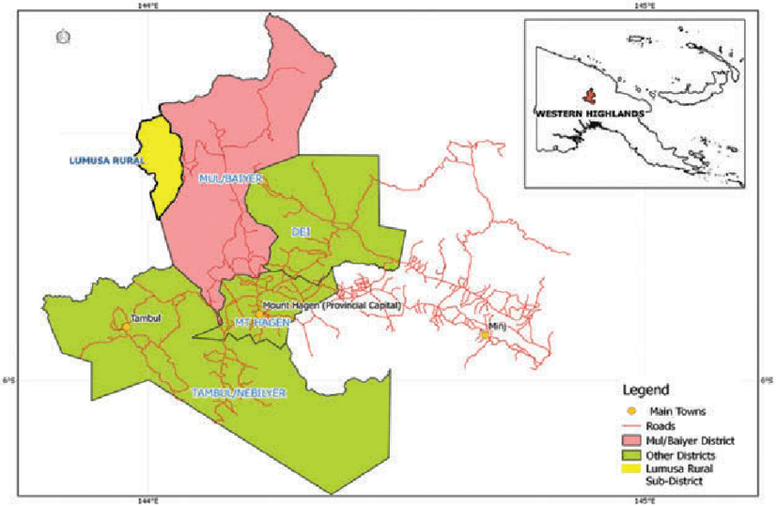 Map of the four districts of Western Highlands Province with the.