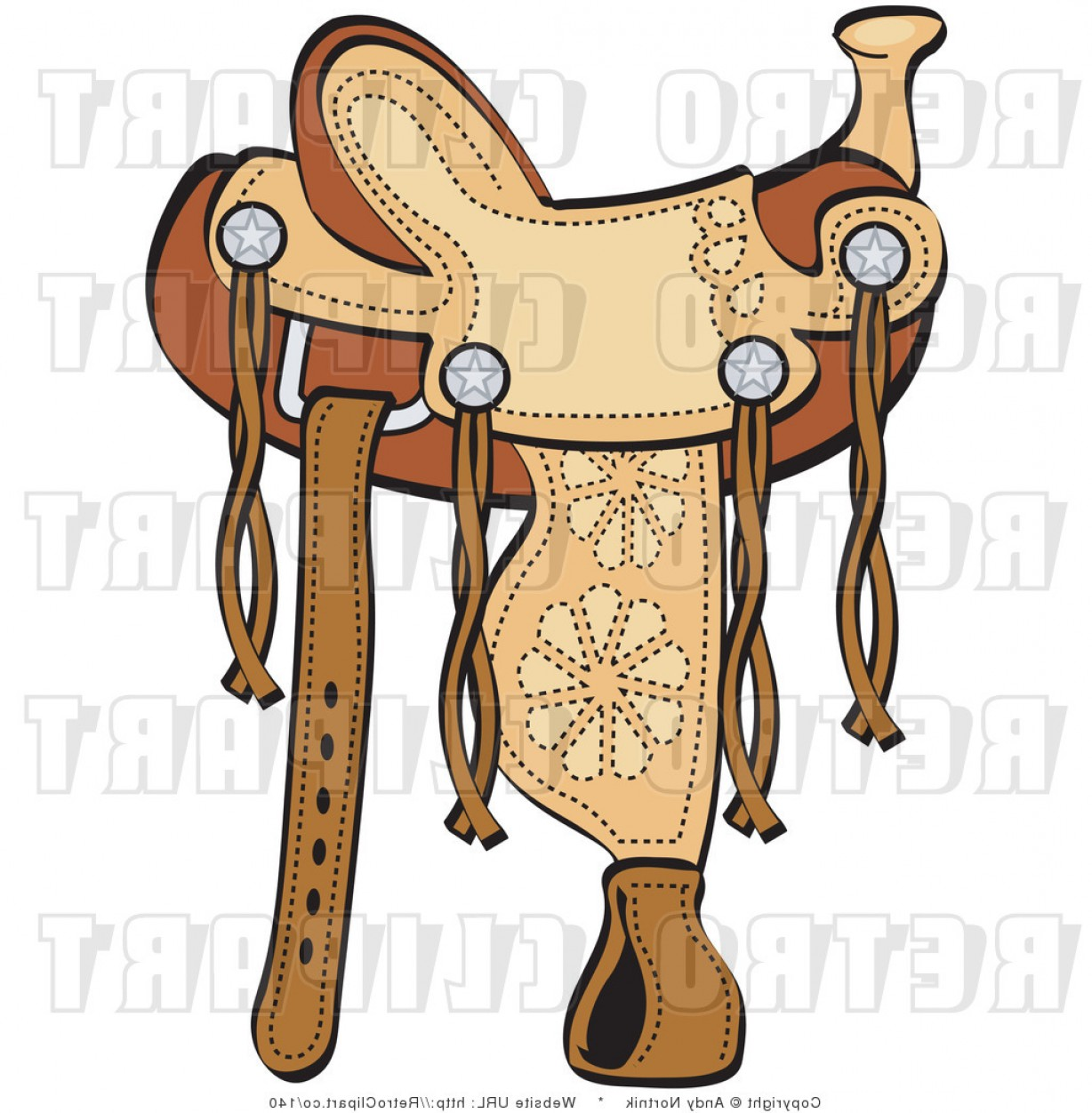 Royalty Free Retro Vector Clip Art Of A Leather Saddle By Andy.