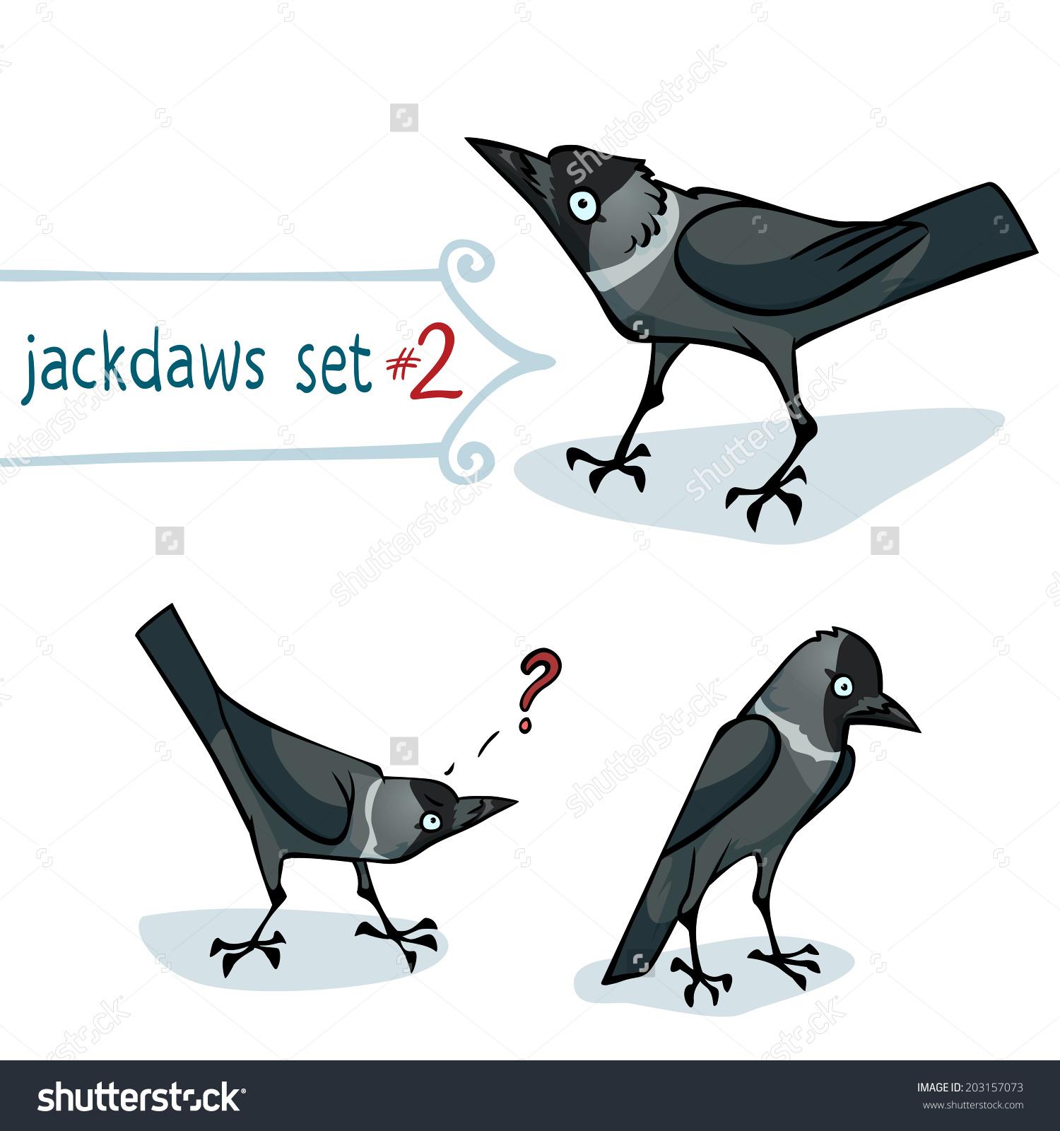 Western Jackdaw Corvus Monedula Character Design Stock Vector.