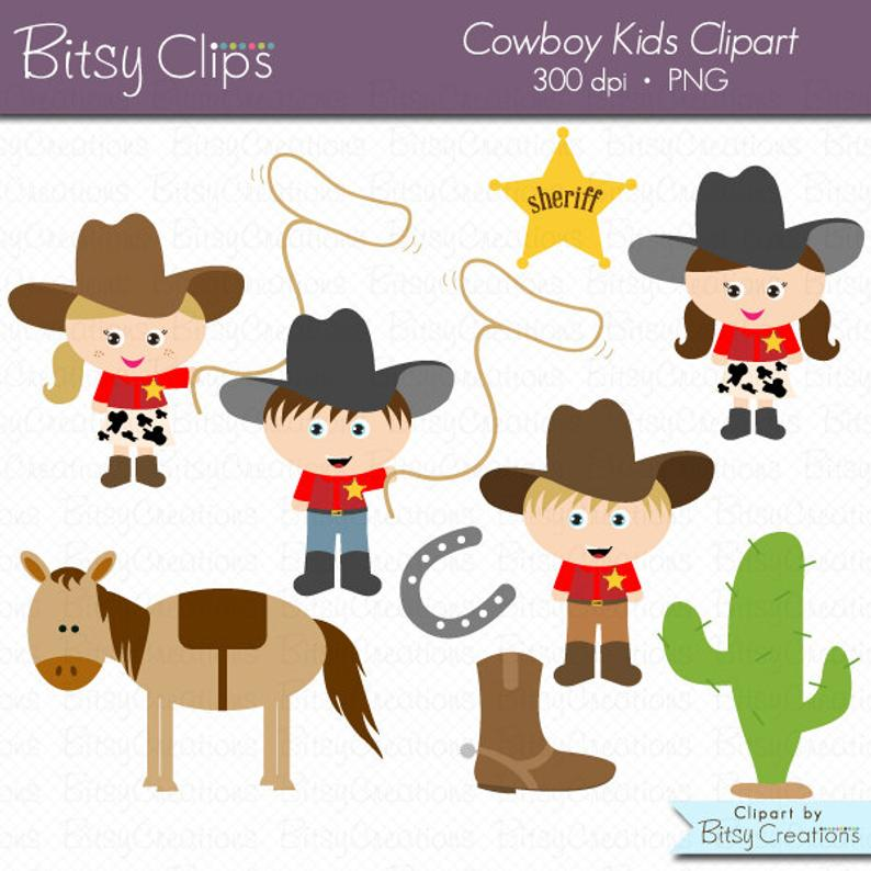 Cowboy Kids Digital Art Set Clipart Commercial Use Clip Art INSTANT  Download Cowboy Clipart Western Clipart Cowgirl Clipart.