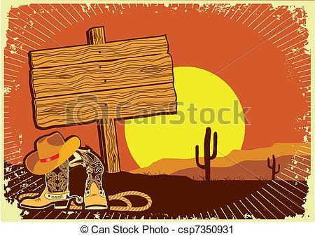 Vector Clip Art of Cowboy's landscape .Grunge wild western.
