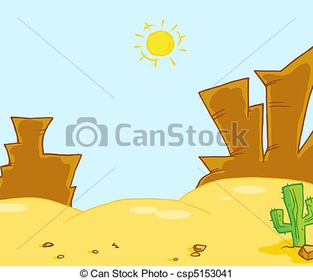 Vector Clip Art of Western Landscape Illustration.