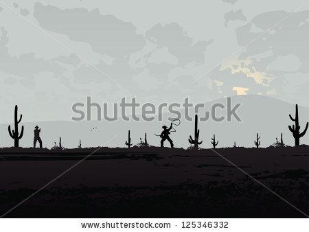 Western landscape silhouette clipart.