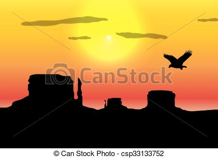 Clipart Vector of Western desert background. Rocks silhouettes.