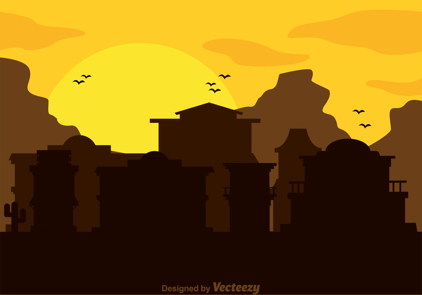 Old Western Town Free Vector Art.