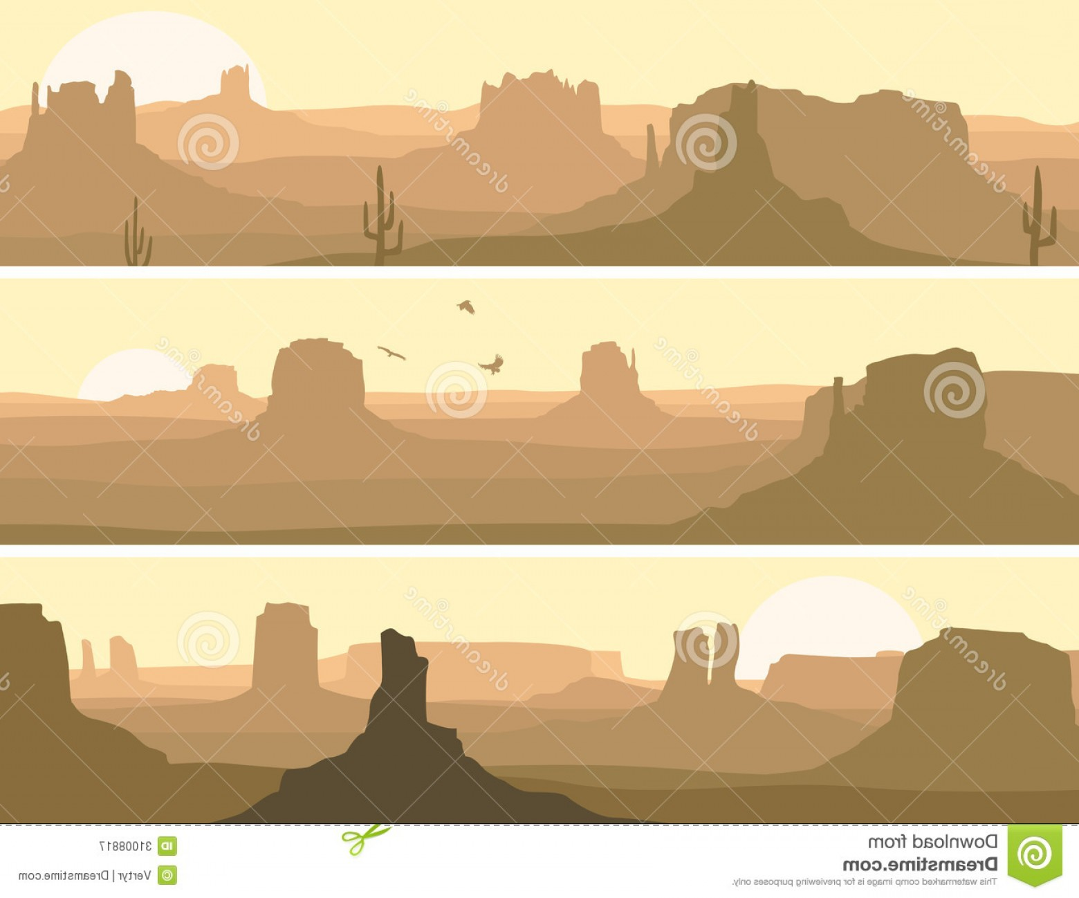 Top Western Landscape Silhouette Clip Art Picture.