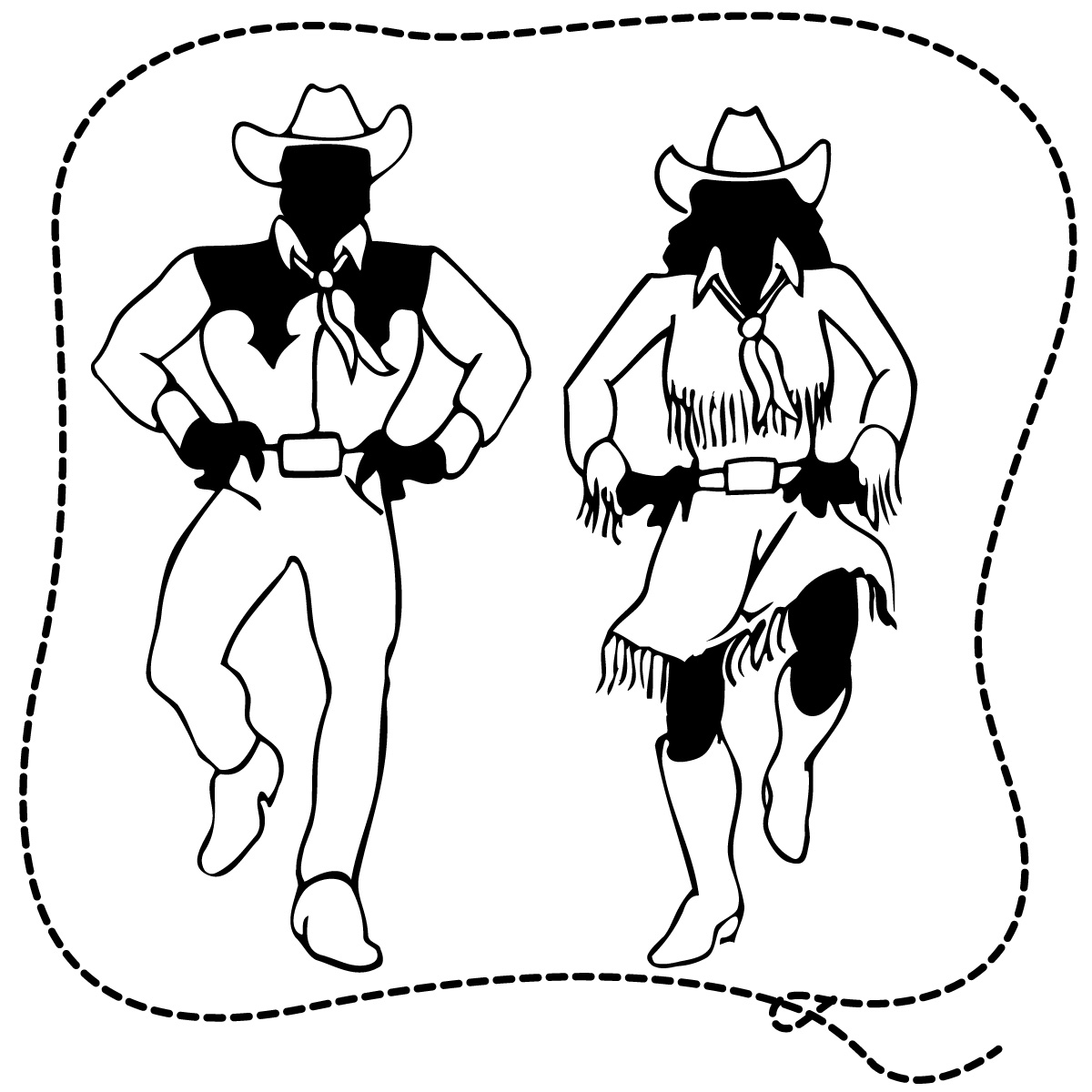 Country Western Black And White Clipart.