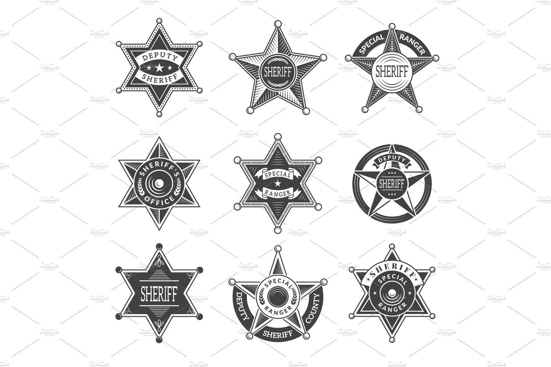 Sheriff stars badges. Western star by Onyx on.