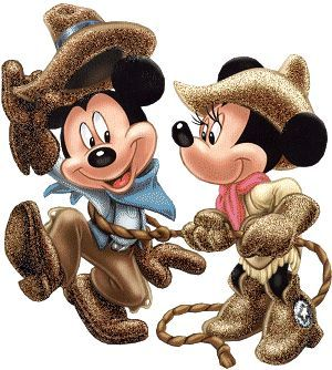 western mickey and minnie mouse clipart.