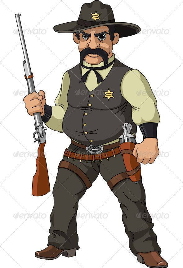 Wild west. Cartoon sheriff in 2019.