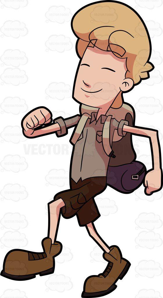 A man enjoying a hike up the mountain #cartoon #clipart.