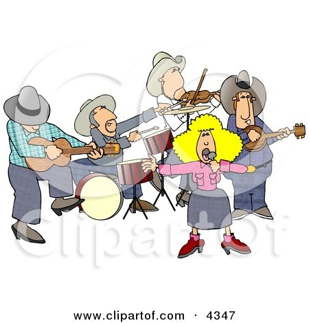 Country Western Band Playing Country Music Clipart by Dennis Cox #4347.