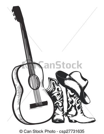 EPS Vector of Vintage poster with cowboy boots and music guitar.