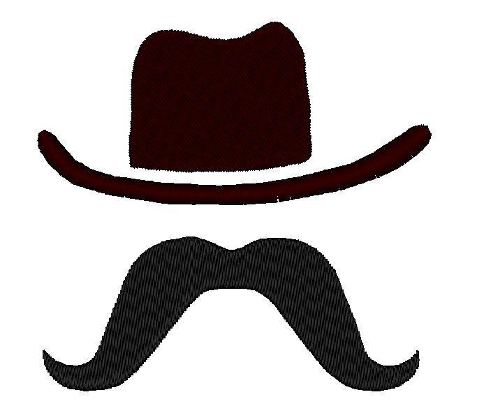 Cowboy Hat Moustache Mustache Applique INSTANT DOWNLOAD.