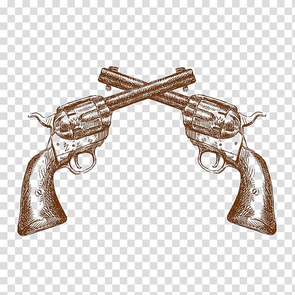 Two revolver pistol , American frontier Western Illustration.