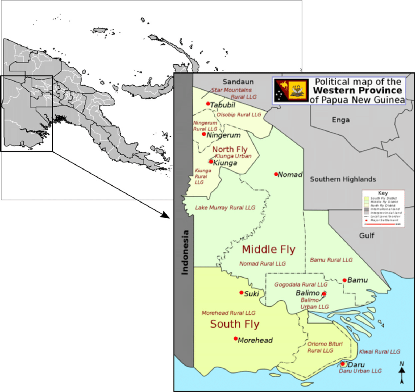 Western Province of Papua New Guinea (PNG), showing Balimo in the.
