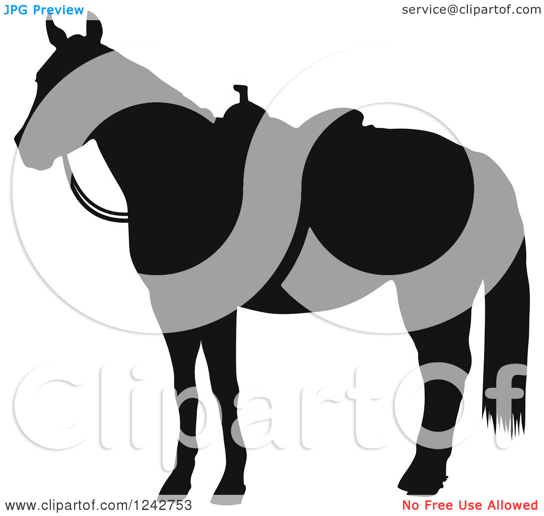 Clipart of a Black Silhouetted Hourse in a Western Saddle.