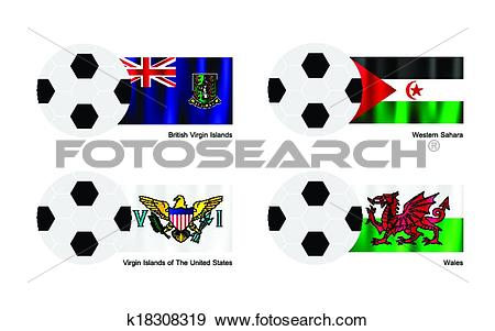 Clip Art of Soccer Ball with Virgin Islands, Western Sahara and.
