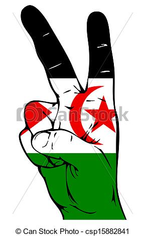 Drawing of Peace Sign of the Western Sahara Flag csp15882841.