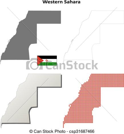 Clip Art Vector of Western Sahara outline map set.