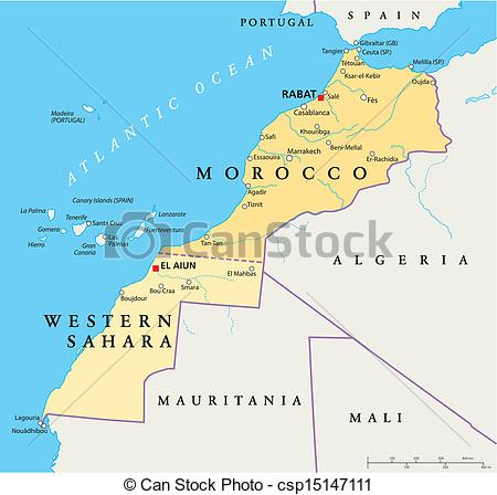 Vector Clip Art of Morocco And Western Sahara Politica.