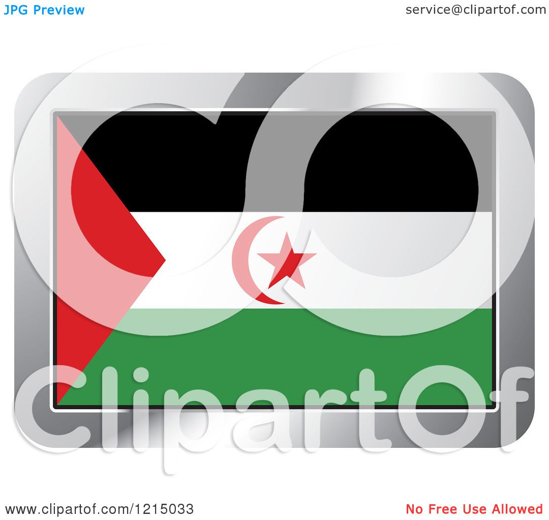 Clipart of a Western Sahara Flag and Silver Frame Icon.