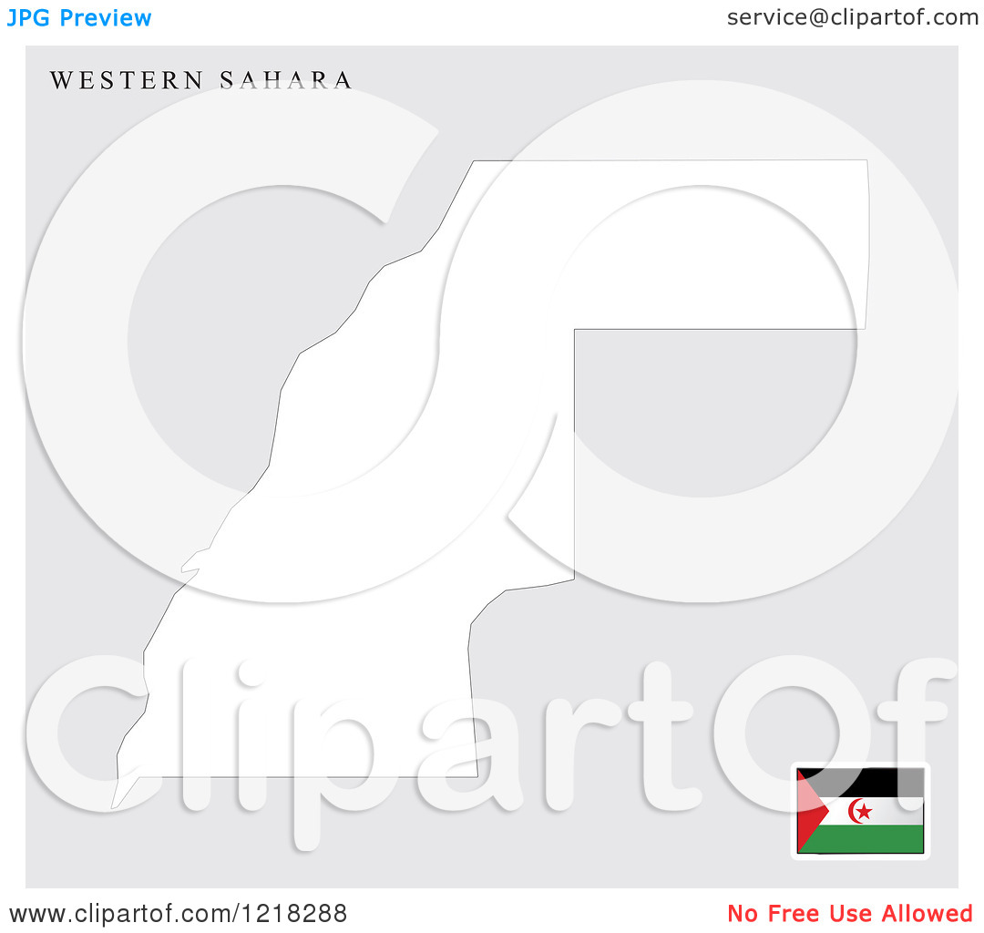 Clipart of a Western Sahara Map and Flag.