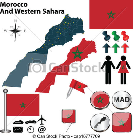 Vector Clipart of Map of Morocco And Western Sahara.