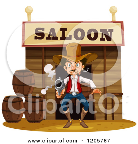 Clipart of a Side Table and Chair in a Western Saloon.