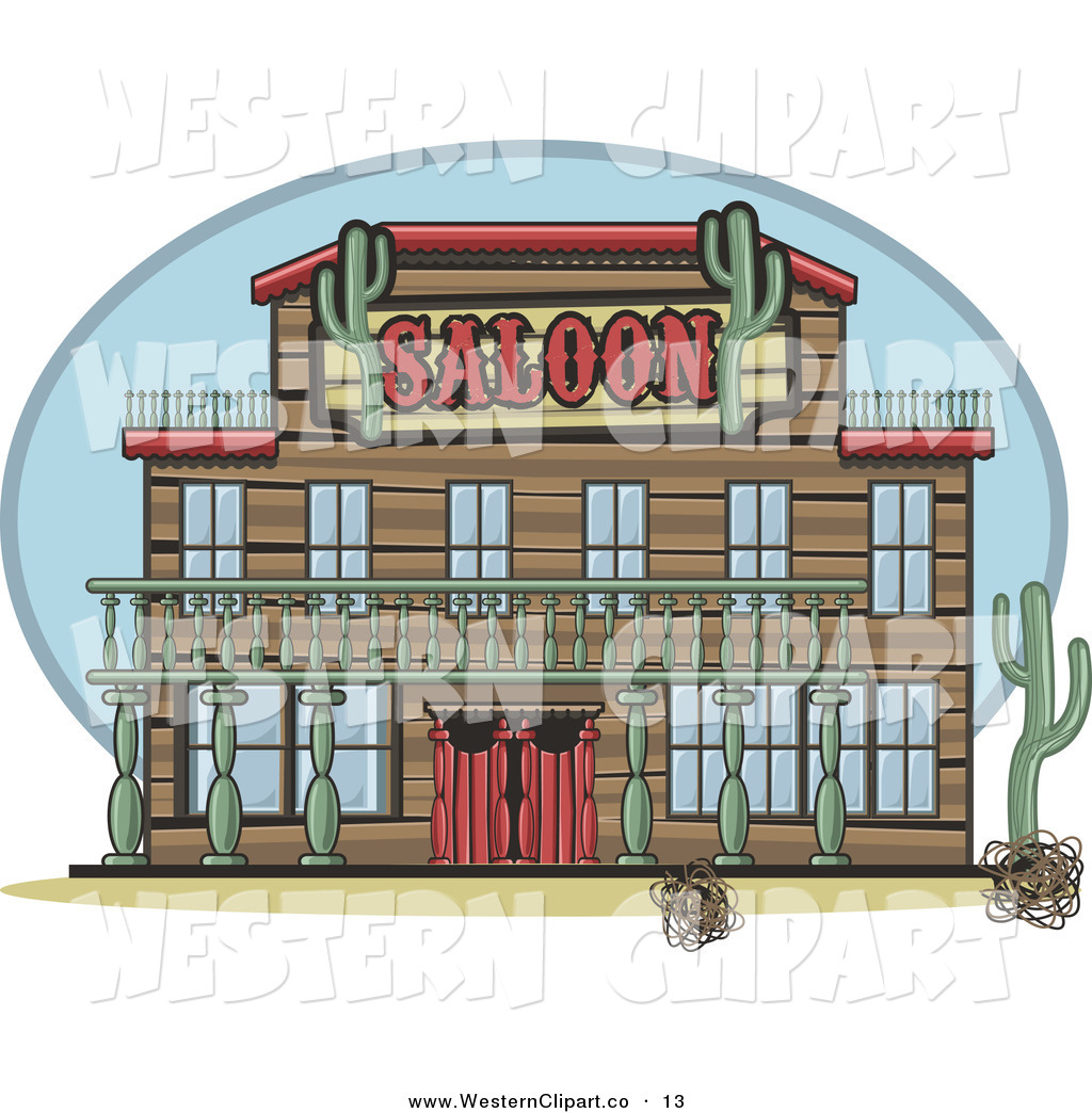 Vector Western Clip Art of a Front of a Western Saloon with Cati.