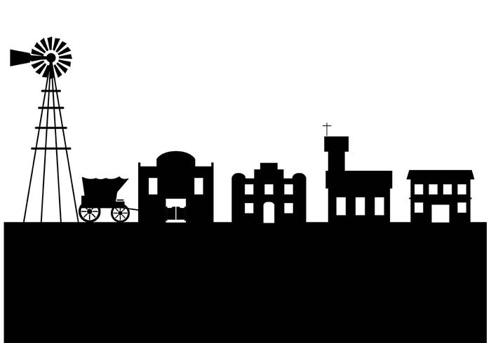 Old west town silhouette.