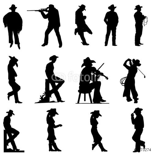 Vector: cowboy and cowgirl silhouettes.
