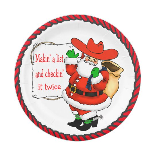 Western Christmas Cowboy Santa With List Paper Plate.