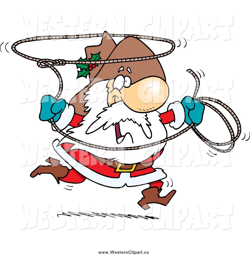 Vector Clip Art of a Cowboy Santa Swinging a Lasso by.