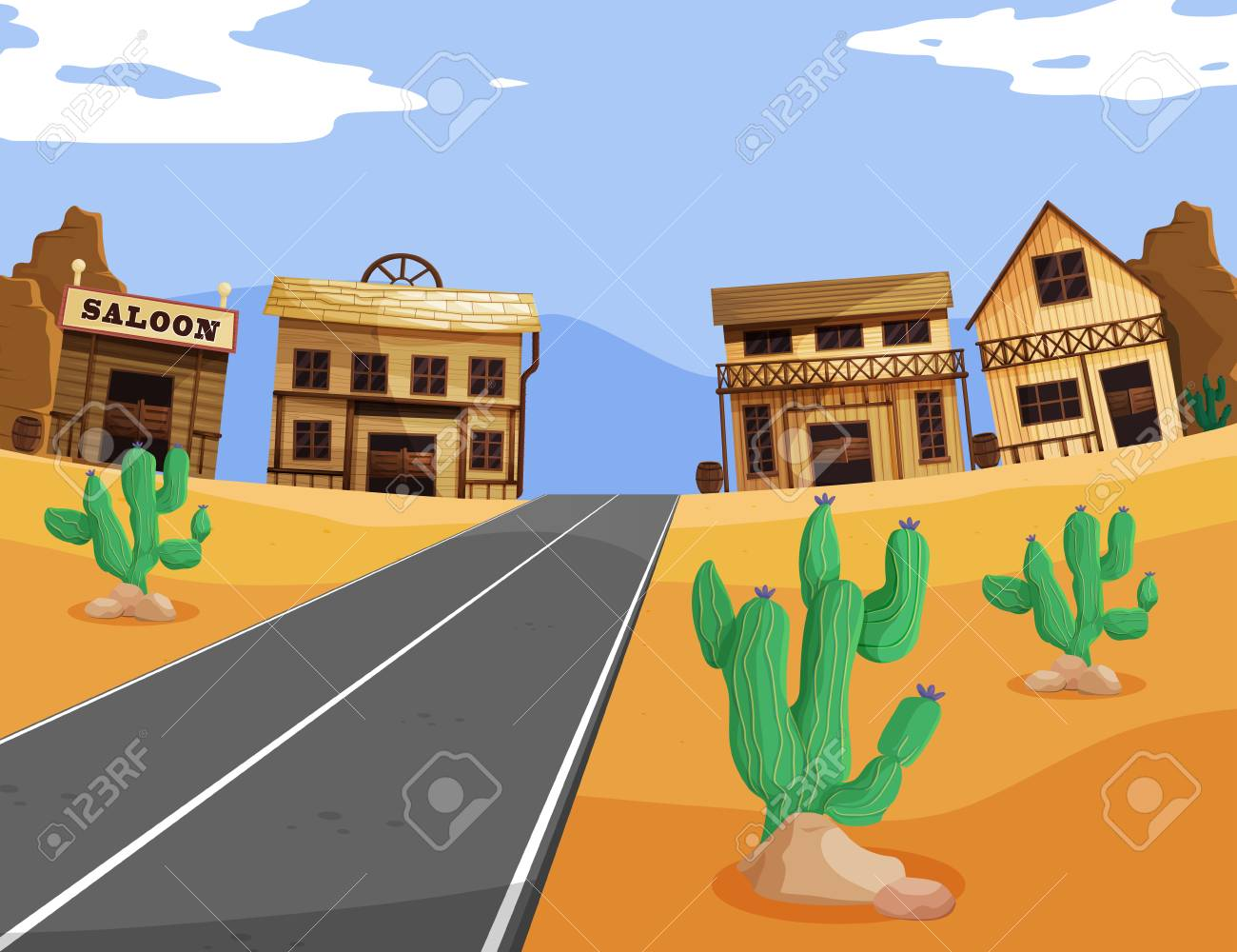 Western scene with buildings and road illustration.